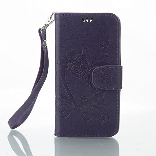 BONROY® Magnetic Flip Cover for LG K8,Meaning the heart of love Embossing Wallet Case with Hand Strap for LG K8, Premium PU Leather Folio Style Retro PU Leather Wallet Flip with Card Slots and Stand Function Case Cover for LG K8