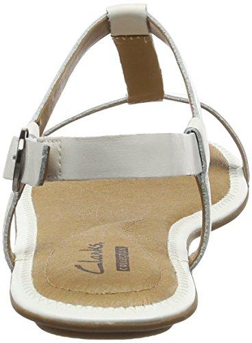Clarks Risi Hop Sandali, Donna Bianco (White Leather)