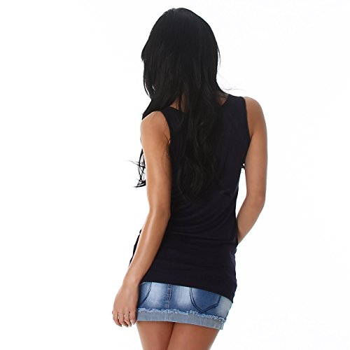 Voyelles Damen Top Shirt Tanktop Longshirt T-Shirt Träger Knopfleiste Rundhalsausschnitt Navy
