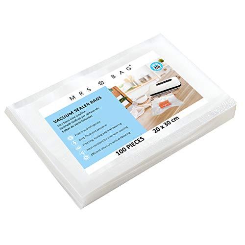 MRS BAG Folienbeutel Vakuumbeutel für JEDES Vakuumiergerät, ideal für Sous Vide, Mikrowellen & Gefrierschrank (20x30cm | 100 Beutel) -