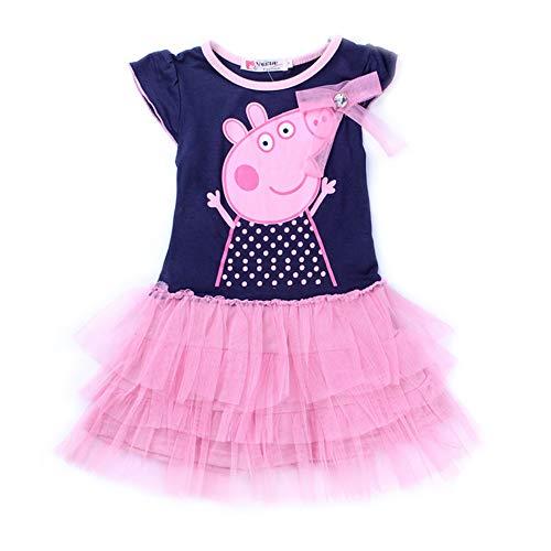 GUTSBOX Baby Kleid Mädchen Süß Rosa Kleid Ballett Kleid Prinzessin Kleid Girl Kleid (110, Short Sleeve)