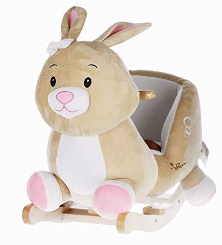Bieco Plüsch Schaukel-Tier Hase Hopsi, Kinder Schaukelstuhl, Sicherheitsgurt und Rückenlehne, Plüschschaukel für Babys und Kleinkinder ca. 60 x 31 x 50 cm , 74004013 ...