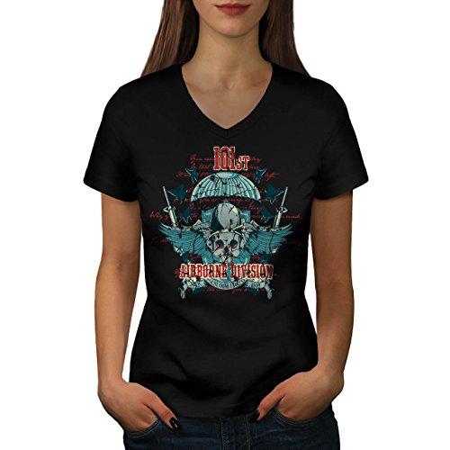Airborne Aufteilung Schädel Krieg Flug Damen S V-Ausschnitt T-shirt | Wellcoda (Dunklen T-shirt Airborne)