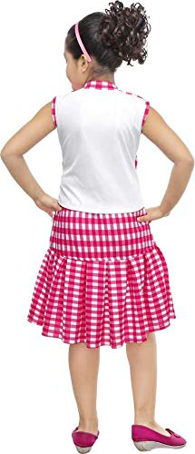 KRISHNA INDUSTRIES Girl's Cotton Top and Skirt Set (Pink, 7-8 Years)