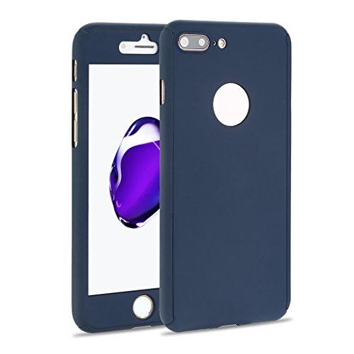 iMusi iPhone 7 Plus Dünnen Hülle, Vollschutzhülle für Apple iPhone 7 Plus mit Gehärtetes Glas (Compleanno Speciale Piastra)