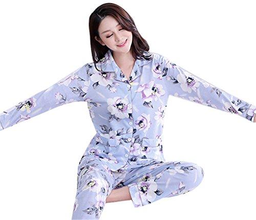 Naughtyspicy Sleepwear da donna con bottoni a manica lunga Top e pantaloni Set da pajama-Fiori grandi Fiori viola / grandi
