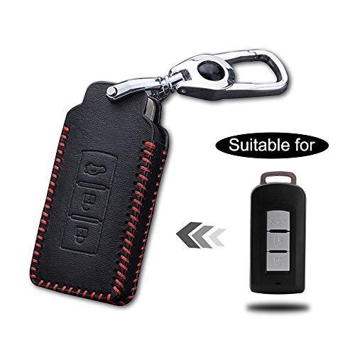 Cobear Schlüssel Hülle Leder Auto Schlüsseltasche mit schlüsselanhänger für 3-Tasten Keyless Go Fernbedienung Autoschlüssel Rotes Nähen 1 Stück