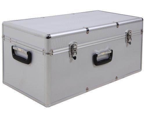 Ondis24 großer Aufbewahrungskoffer Lagerkoffer Transportkoffer Alukoffer-Optik M silber mit Innenpolsterung abschließbar …