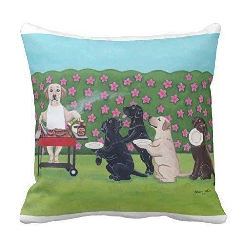 Jxrodekz BBQ Party Labradors in The Azalea Garden Lumbar Pillow Cover for Living Room Home Decorative Canvas Accent Zippered Throw Kissenbezug 18 x 18 13 Azalea