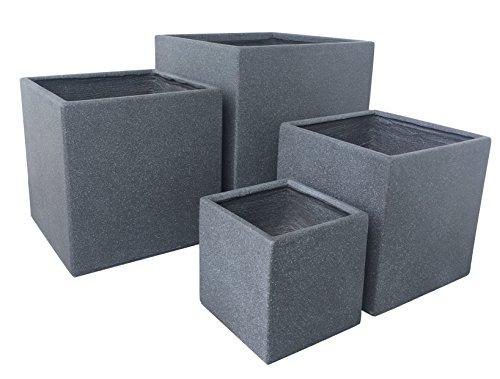 Premium Pflanzkübel Set - Lounge Cube von 7EVEN | Blumentopf eckig Pflanzgefäße Blumenkasten Pflanztöpfe Blumenkübel Pflanztrog Steinoptik Blumentrog Pflanzkasten Übertopf | Gartengestaltung modern (Grau Granit)