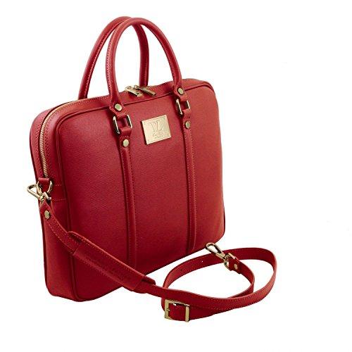 Tuscany Leather Prato - Esclusiva cartella porta notebook in pelle Saffiano - TL141626 (Nero) Rosso
