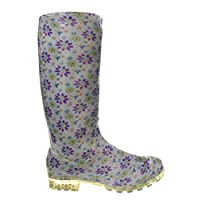 P341 LIGHT BLUE WITH PURPLE FLOWERS FUNKY WOMENS LADIES GIRLS WELLIES WELLIE BOOTS RAIN SNOW SIZES 3, 4, 5, 6, 6.5 & 7 | BESTIVAL, READING & V FESTIVAL *UK SELLER*
