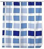 WENKO 19140100 Duschvorhang Mosaik  - wasserdicht, pflegeleicht, Kunststoff - PEVA, Blau