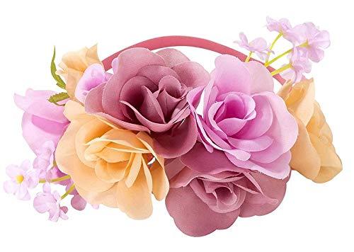 Schmuck Peach Kostüm - Head-Band/Blumen-Band/Haar-Schmuck aus Blüten & Blumen/Deko für Braut-Jungfern, Trauzeugin & JGA Accessoire