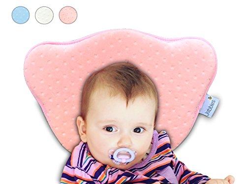 Jabbies | Orthopädisches Babykissen | Vorbeugung von Plagiozephalie (Schiefschädel-Kopfform & Verformung) | Babykopfkissen gegen Plattkopf | atmungsaktiv & weich mit Memory Foam | SGS zertifiziert (Rosa)