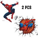 Kibi Stickers Muraux Spiderman 3D Effect Autocollants Chambre Decor Décoration Sticker Adhesif Mural Géant Répositionnable Stickers Muraux Enfants Spiderman