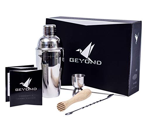 Beyond Cocktail Shaker Set / Edelstahl Cocktailshaker Cocktailset Mixer mit Sieb, Messbecher, Jigger, Stössel, Löffel / Cocktailmixer Barset in Bar Zubehör Geschenke Box, Alkohol Martini Cocktails Barware Martini-glas