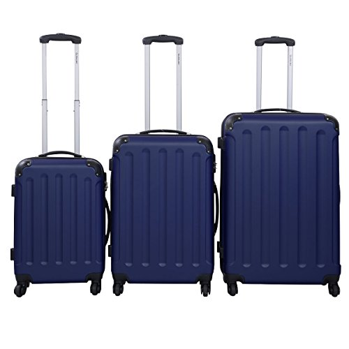 GLOBALWAY® 3tlg. Reisekoffer Trolley Set Koffer Reise Kofferset ABS Set Hartschale (Dunkel Blau ABS)
