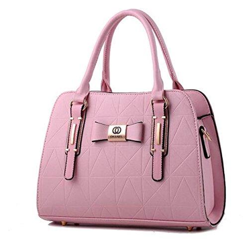 DFUCF Signore PU ufficio Borsa A Tracolla Occupazione Borsa Messenger Borsa Moda Casual Robusto Resistente Retro Blushing Pink