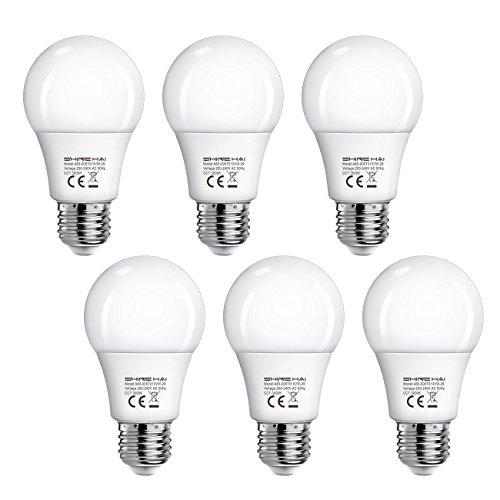 LED Leuchtmittel E27 ersetzt 40W Gluehbirnen Warmweiss, SHINE HAI 6er LED Birnen Set 6W E27 Fassung Lampe, 3000 Kelvin, A60, 470lm, Globaler 200° Abstrahlwinkel, nicht dimmbar, Energiespar-Strahler (40 W Glühbirne)