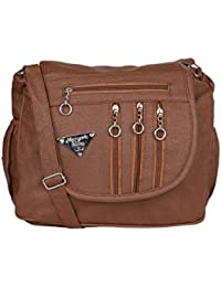 GulshanCollection Women Evening/Party, Casual PU Sling Bag With Stylish Fourth Zipper Flap (Brown)