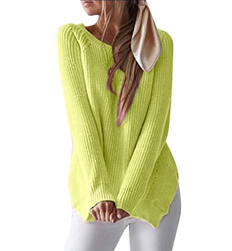 CuteRose Womens Leisure Crewneck Soft Plush Split Knitwear Sweater Blouse Green L (Green Pullover Wool Crewneck)