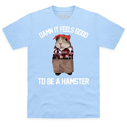 Goodie Two Sleeves Hamster T-shirt, Uomo, Celeste, XL