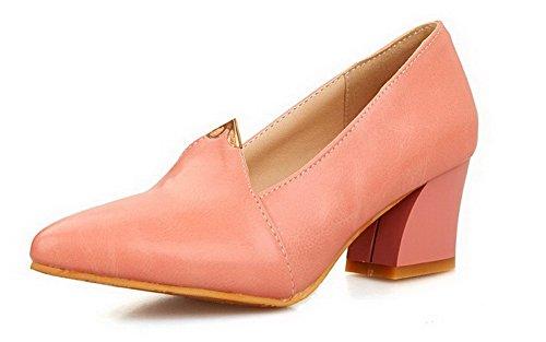 AgooLar Femme à Talon Correct Matière Souple Couleur Unie Tire Pointu Chaussures Légeres Rose