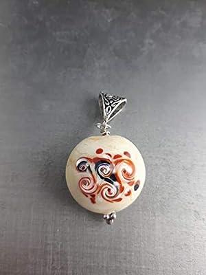 Pendentif en verre de murano style retro idée cadeau femme anniversaire noel fait main artisanal original personnalisable