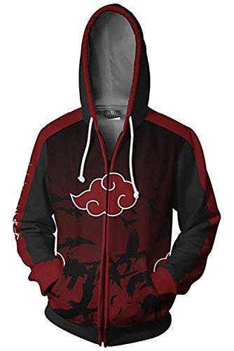 Naruto Akatsuki Sweatshirt Anime Unisex Reißverschluss Lange Ärmel Kapuzenpullover Jacke Rot XXL