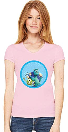 Movie Stars Merchandise Monsters, Inc. Women V-Neck T-Shirt Stylish Fashion Fit Custom Apparel by Large