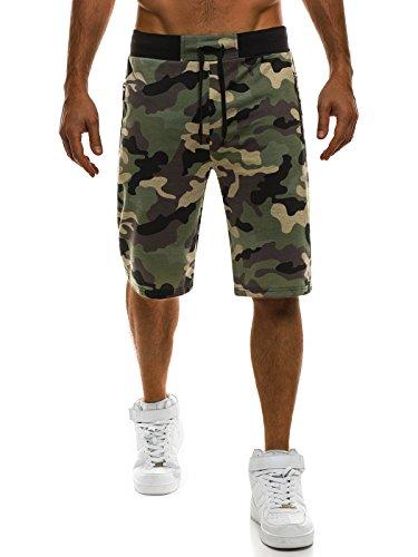 OZONEE Herren Hose Shorts Kurzhose Sporthose Camouflage Bermudas RED FIREBALL 1282 GRÜN M (Baumwolle Camouflage Shorts)