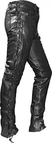 Preisvergleich Produktbild German Wear Motorrad Lederhose Seitlich Geschnürt, Schwarz, 52
