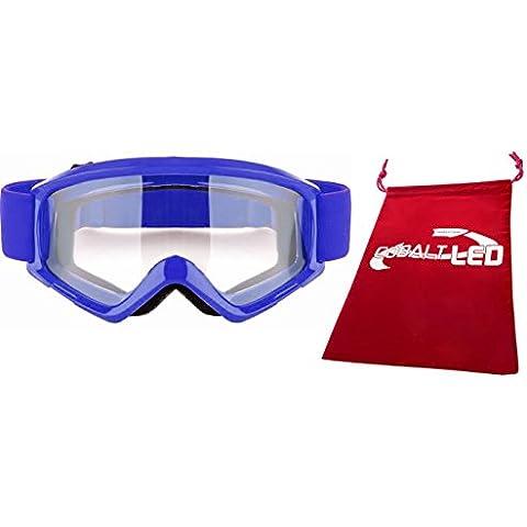 Cobalt®: Motocross Occhiali Occhiali bicicletta/moto (Outdoor vento protezione degli occhi), (Cobalt Blue Led)