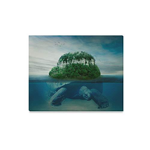 JOCHUAN Wandkunst Malerei Collage Riesenwelt Schildkröte Tragen Insel Drucke Auf Leinwand Das Bild Landschaft Bilder Öl Für Home Moderne Dekoration Druck Dekor Für Wohnzimmer