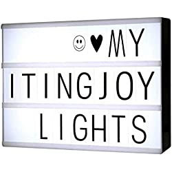 Caja cinematográfica luz LED caja de luz con letras en negro. Tamaño A4