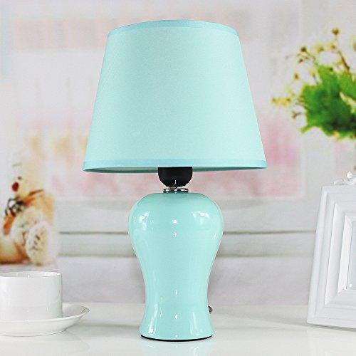 SBWYLT-Lampada da comodino caldo di tessuto arancio blu verde piccola lampada in ceramica colorata rosso piccolo tempo - Colorata Tessuto Blu