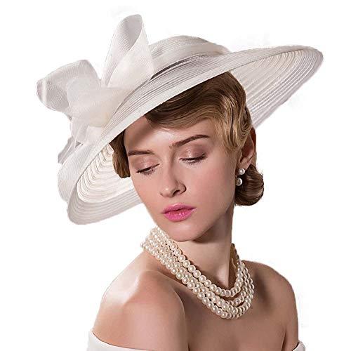 en Jahrgang Breiter Rand Fedoras Hüte Für Frauen Bogen Kentucky Derby Kirche Tee Partyhut Hochzeit Cocktail Hut und Haarspange und Stirnband,A ()
