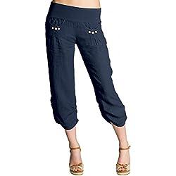 Caspar. Pantalones pirata de lino para mujer, azul oscuro.