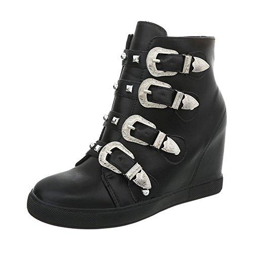 Ital-Design Sneakers High Damen-Schuhe Keilabsatz/Wedge Keilabsatz Reißverschluss Freizeitschuhe Schwarz, Gr 39, 5829-