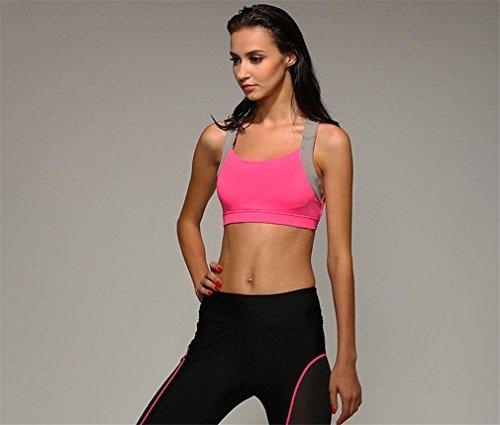 HAPPYMOOD Reggiseno sportivo donna Rosa Carina Sexy Supporto Strappy Jogging In esecuzione Abiti da yoga esercizi Abbigliamento da palestra Single