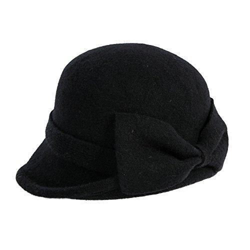 SIGGI schwarze Wolle 1920s Retro Fedorahüte Kirche Hüte für Frauen Filzhut Klassisch Bowler Hut
