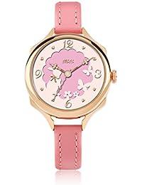 Reloj de Cuarzo para niña, Correa de Cuero con Hebilla de Color Rosa