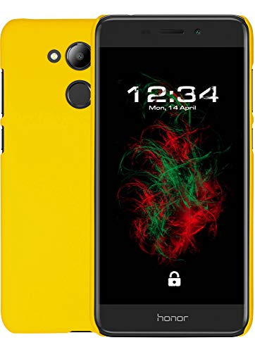 Baluum Hardcase gummierte gelbe Hülle für Huawei Honor 6c Pro Schutzhülle Case Cover Handyhülle Backcover Hartschale aus robusten Kunststoff (HC-G, gelb)