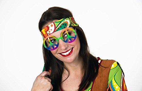 Zeichen Brille Peace Regenbogen (HAAC Gag Party Brille mit Peacezeichen Peace Zeichen Anhänger groß Farbe Regenbogen für Fasching)
