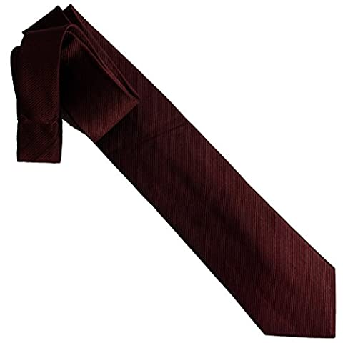 100% pure silk woven neckties solid RIB MINI (burgundy)