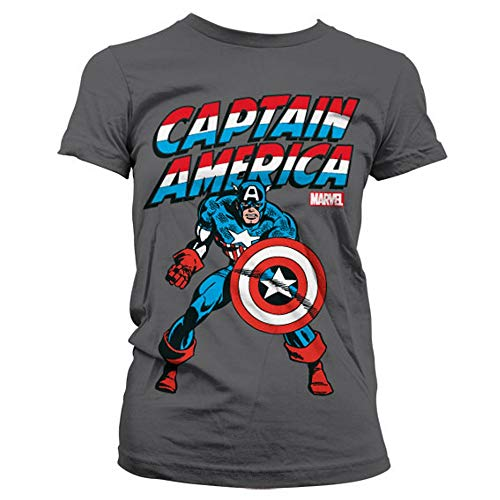 Marvel Comics - Captain America Damen T-Shirt - Run & Fight (Grau) (S-L) ()