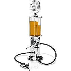 """Dispensador de bebidas en el diseño de """"bomba de gasolina"""" - Plata aprox. 900 ml - Dispensador de lujo para el bar y fiestas en casa - Grinscard"""