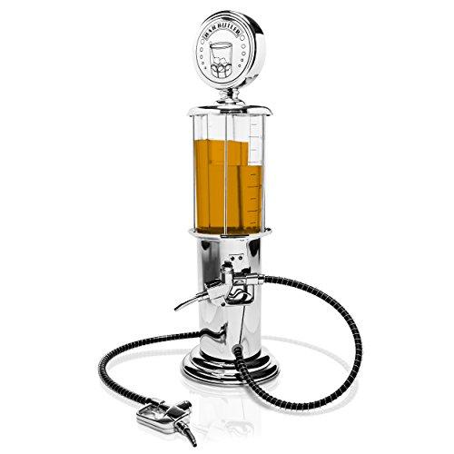 """Getränkespender im """"Tanksäule"""" Design - Silbern ca. 900 ml - Ausgefallene Zapfanlage für Hausbar und Partys - Grinscard"""
