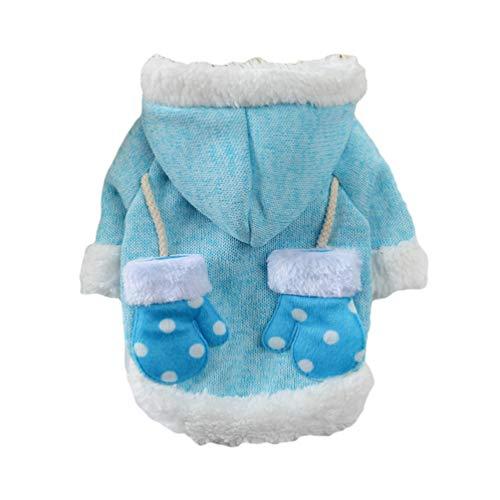 YiLianDaD Warme Hundepullover Sweater Kapuzenpullover Strickpullover Pullover für Kleine Hund Katzenpullover für Herbst Winter Blau